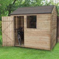 8x6 Reverse Apex Overlap Wooden Shed With Assembly Service With Base Home Garden Garden